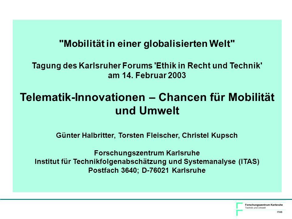 Telematik-Innovationen – Chancen für Mobilität und Umwelt