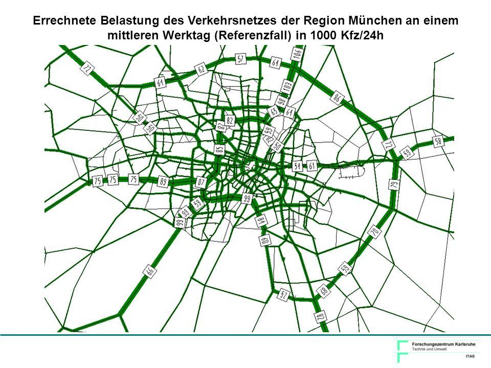 Errechnete Belastung des Verkehrsnetzes der Region München an einem mittleren Werktag (Referenzfall) in 1000 Kfz/24h