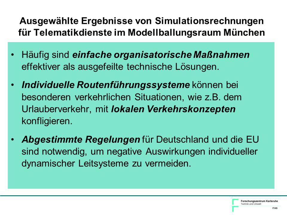 Ausgewählte Ergebnisse von Simulationsrechnungen für Telematikdienste im Modellballungsraum München