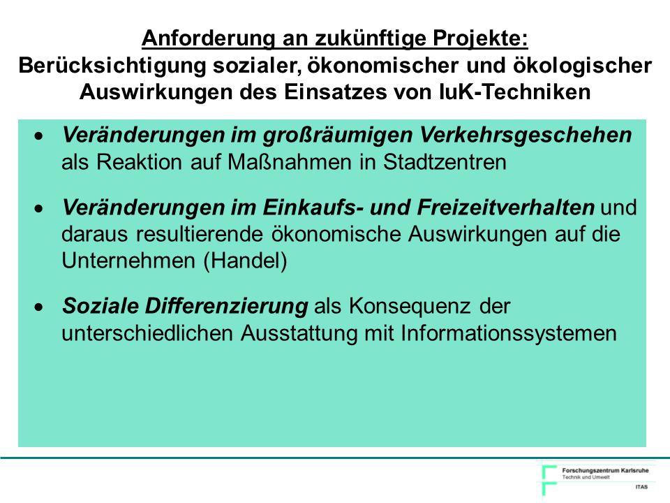 Anforderung an zukünftige Projekte: Berücksichtigung sozialer, ökonomischer und ökologischer Auswirkungen des Einsatzes von IuK-Techniken