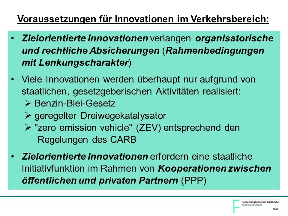 Voraussetzungen für Innovationen im Verkehrsbereich: