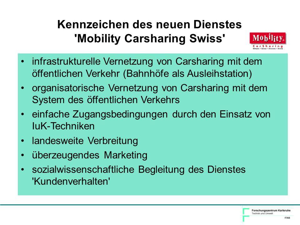 Kennzeichen des neuen Dienstes Mobility Carsharing Swiss