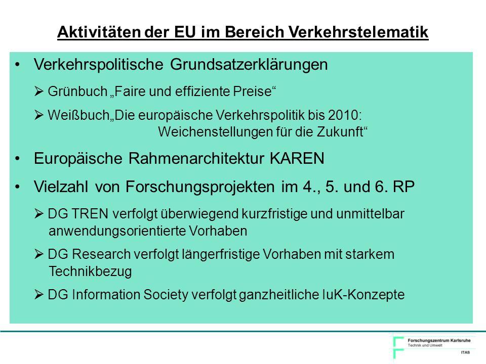Aktivitäten der EU im Bereich Verkehrstelematik