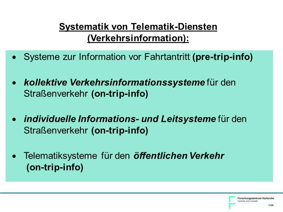 Systematik von Telematik-Diensten (Verkehrsinformation):