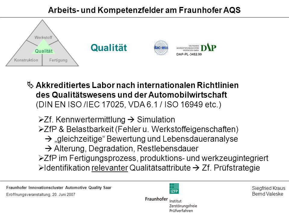 Arbeits- und Kompetenzfelder am Fraunhofer AQS