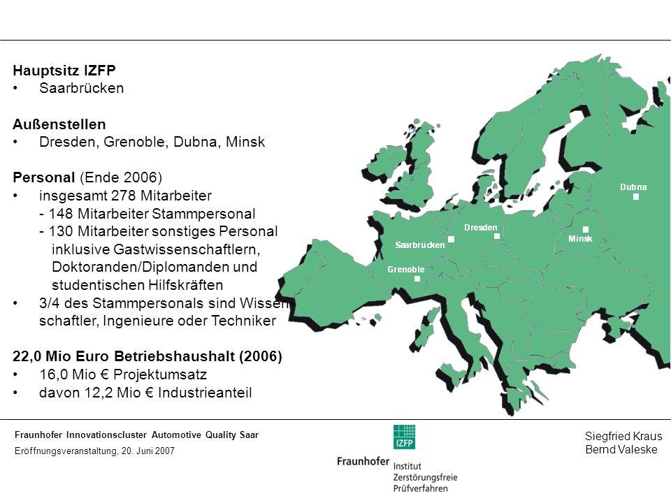 Hauptsitz IZFP Saarbrücken. Außenstellen. Dresden, Grenoble, Dubna, Minsk. Personal (Ende 2006) insgesamt 278 Mitarbeiter.