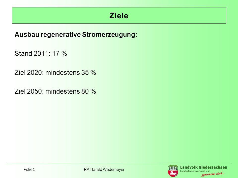 Ziele Ausbau regenerative Stromerzeugung: Stand 2011: 17 %