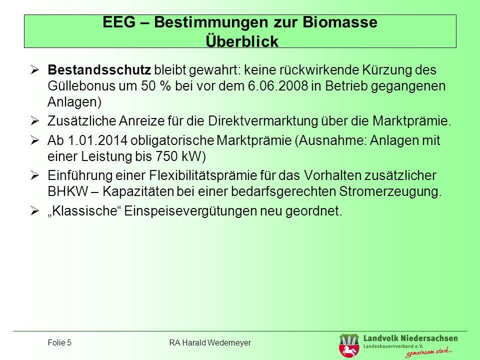 EEG – Bestimmungen zur Biomasse Überblick