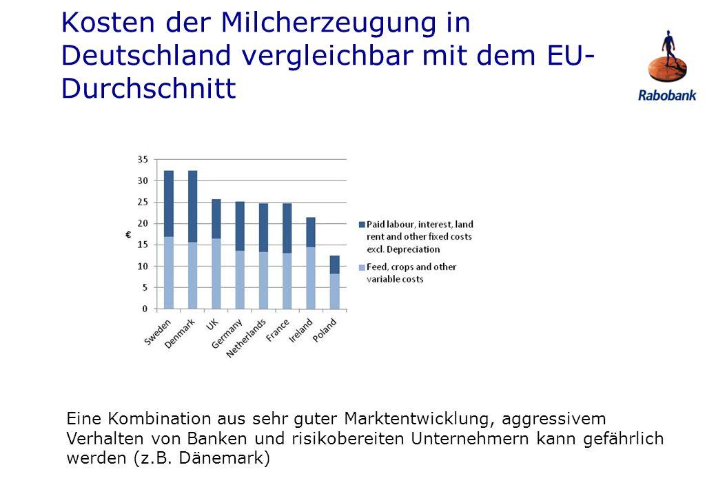 Kosten der Milcherzeugung in Deutschland vergleichbar mit dem EU-Durchschnitt