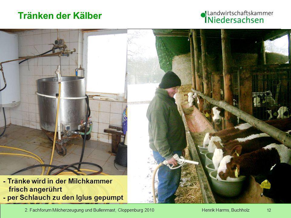 Tränken der Kälber - Tränke wird in der Milchkammer frisch angerührt