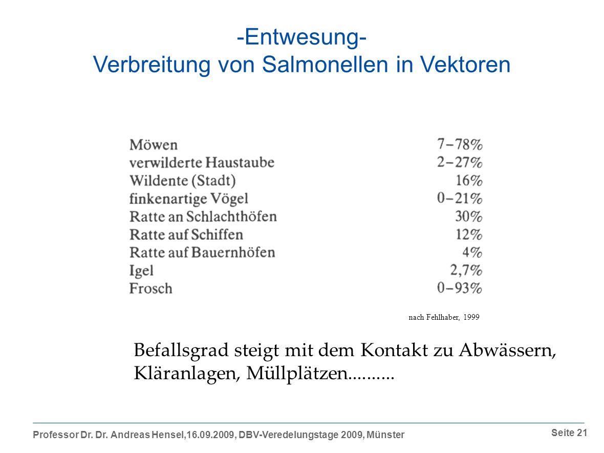 Verbreitung von Salmonellen in Vektoren
