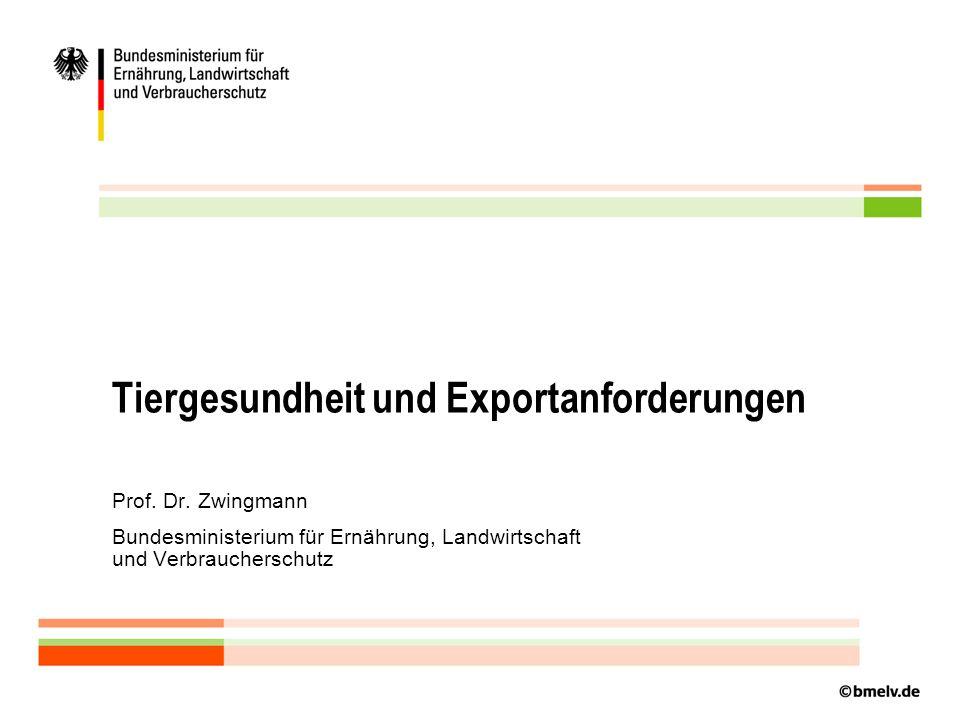 Tiergesundheit und Exportanforderungen