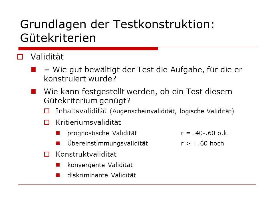 Grundlagen der Testkonstruktion: Gütekriterien