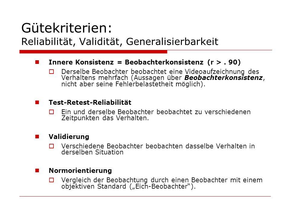 Gütekriterien: Reliabilität, Validität, Generalisierbarkeit