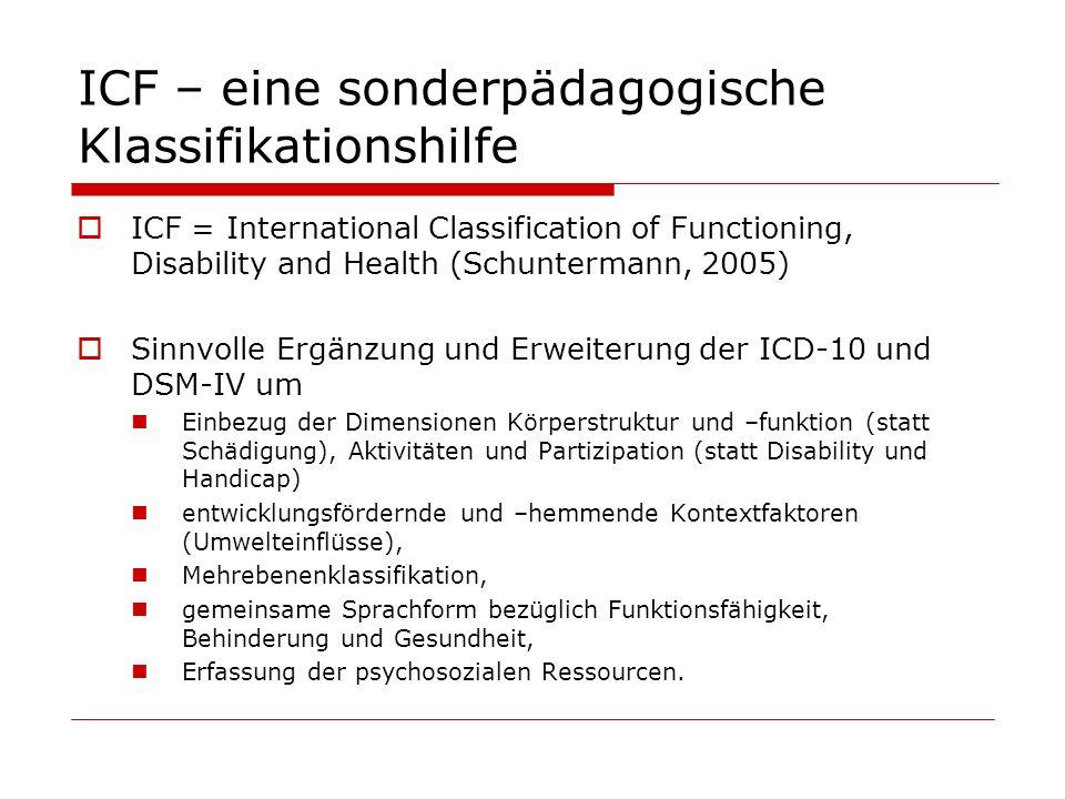 ICF – eine sonderpädagogische Klassifikationshilfe