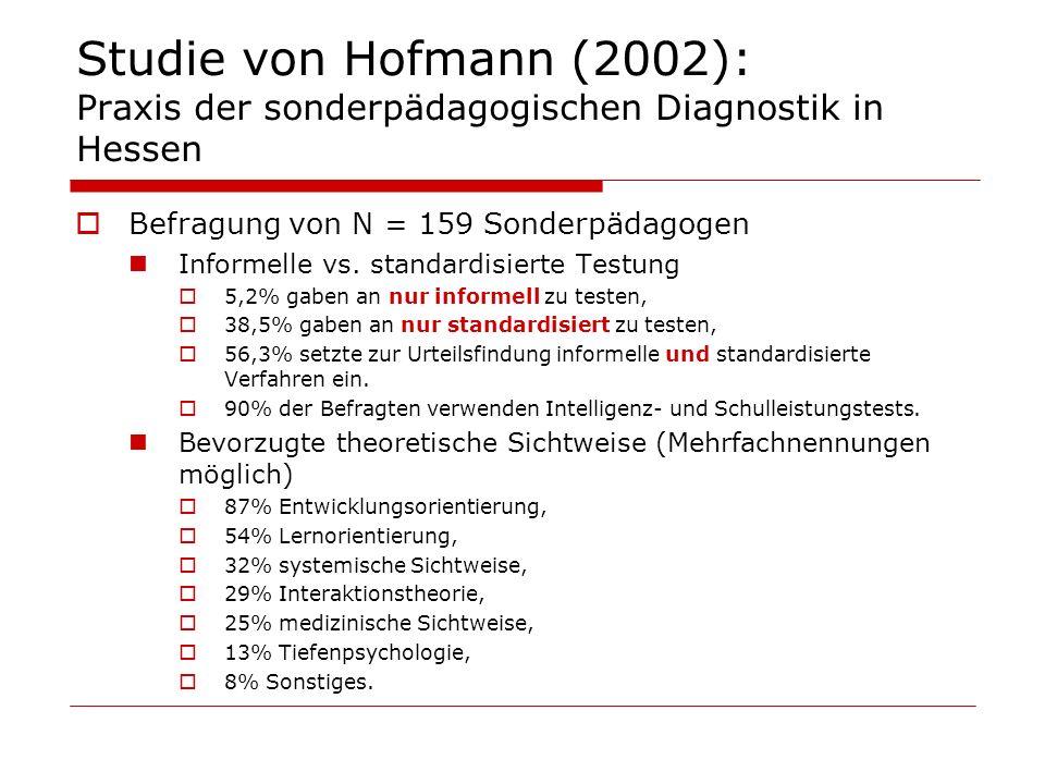 Studie von Hofmann (2002): Praxis der sonderpädagogischen Diagnostik in Hessen