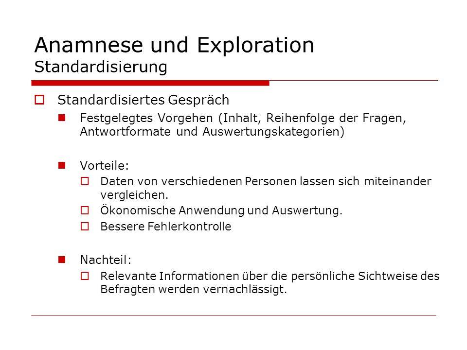Anamnese und Exploration Standardisierung
