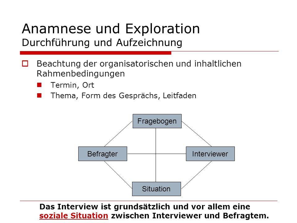 Anamnese und Exploration Durchführung und Aufzeichnung