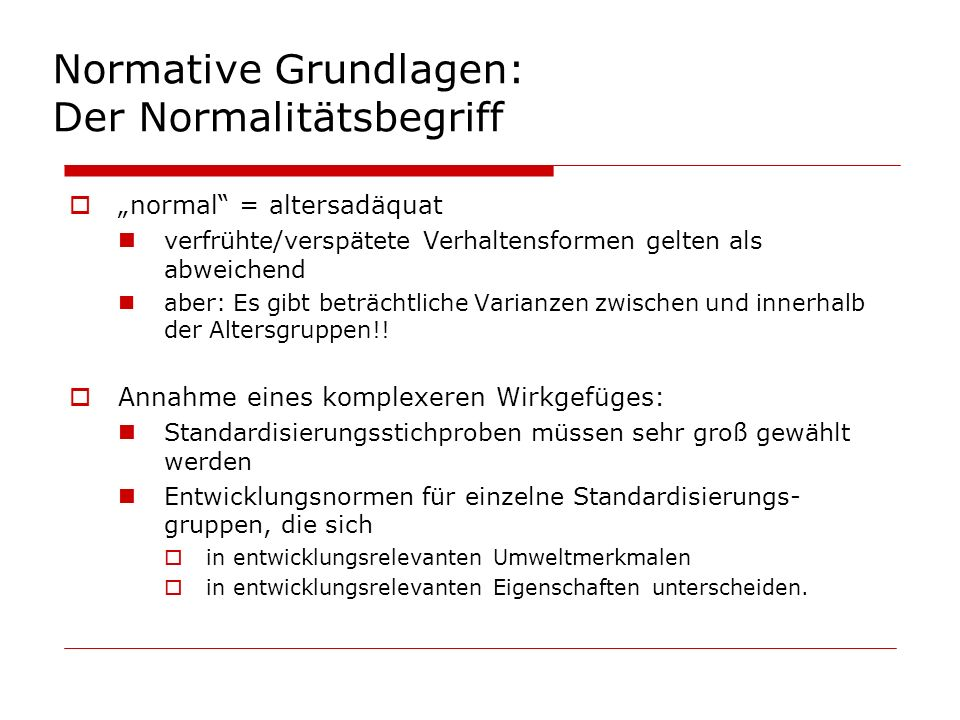 Normative Grundlagen: Der Normalitätsbegriff
