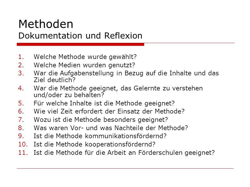 Methoden Dokumentation und Reflexion