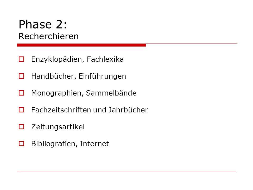 Phase 2: Recherchieren Enzyklopädien, Fachlexika