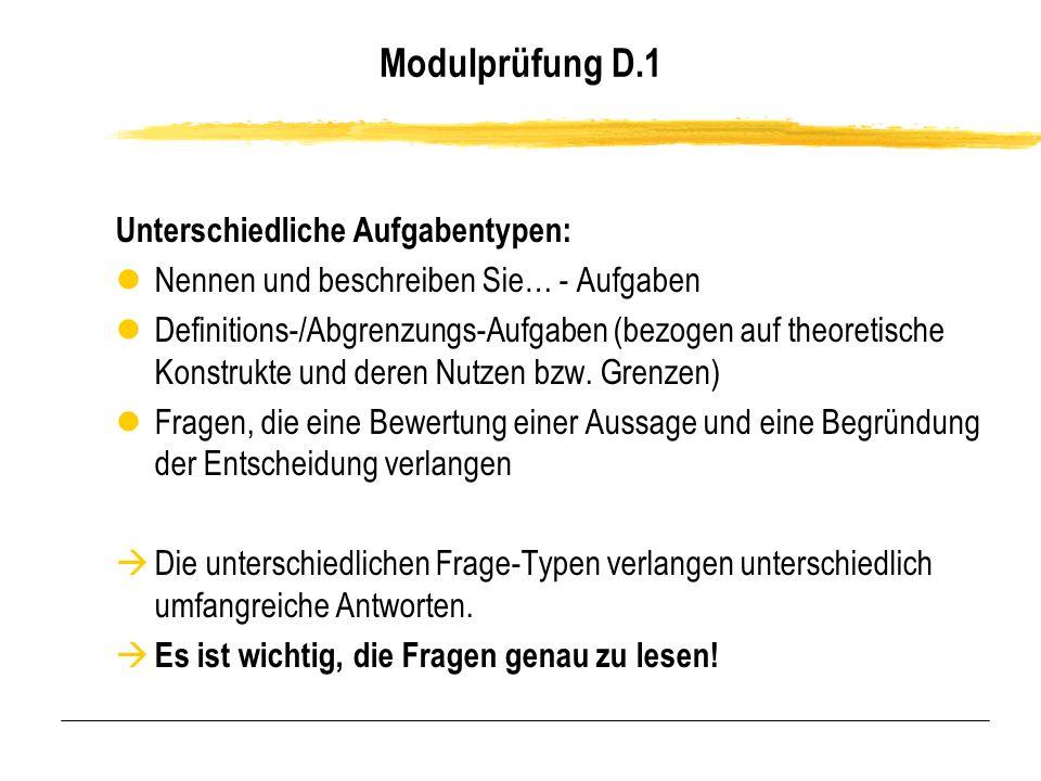 Modulprüfung D.1 Unterschiedliche Aufgabentypen: