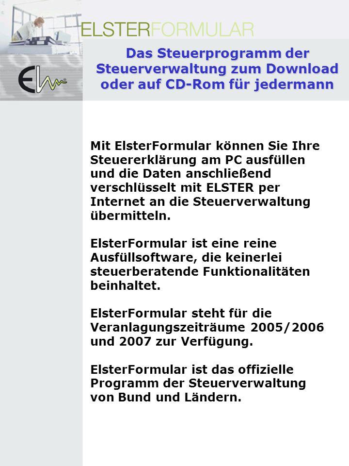Das Steuerprogramm der Steuerverwaltung zum Download oder auf CD-Rom für jedermann