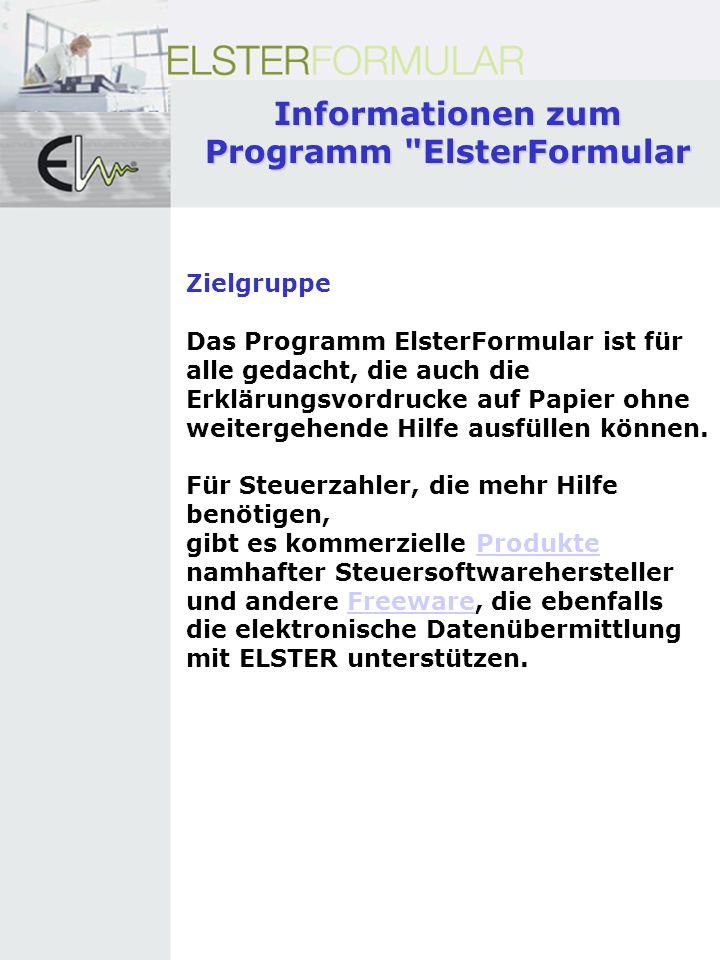 Informationen zum Programm ElsterFormular