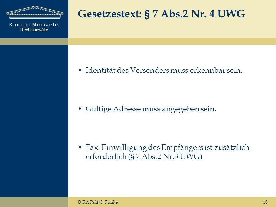 Gesetzestext: § 7 Abs.2 Nr. 4 UWG