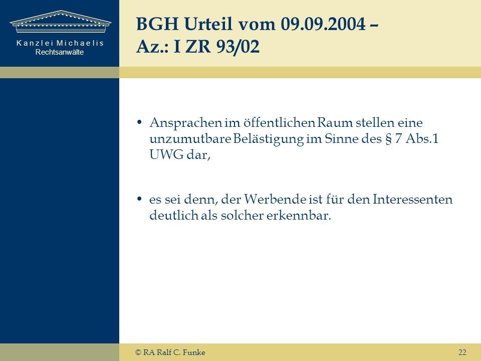BGH Urteil vom 09.09.2004 – Az.: I ZR 93/02