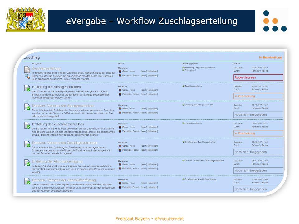 eVergabe – Workflow Zuschlagserteilung