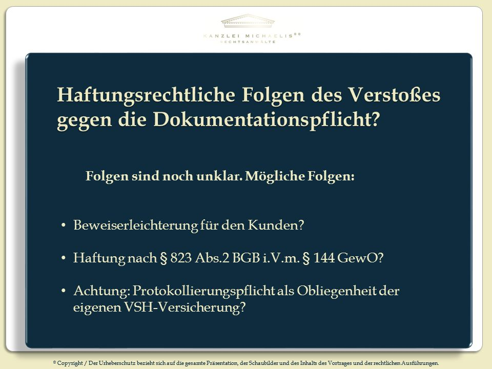 Haftungsrechtliche Folgen des Verstoßes gegen die Dokumentationspflicht