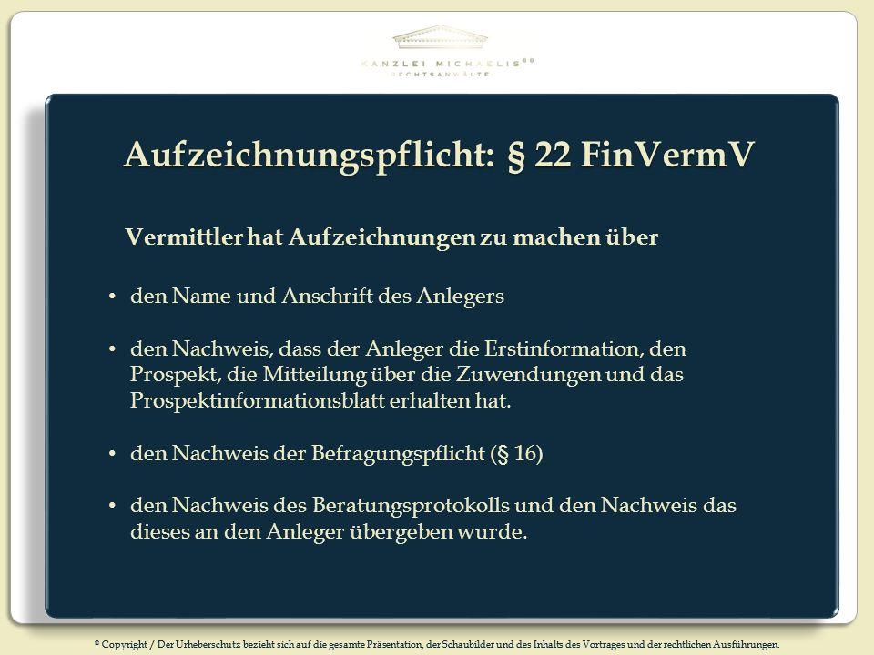 Aufzeichnungspflicht: § 22 FinVermV
