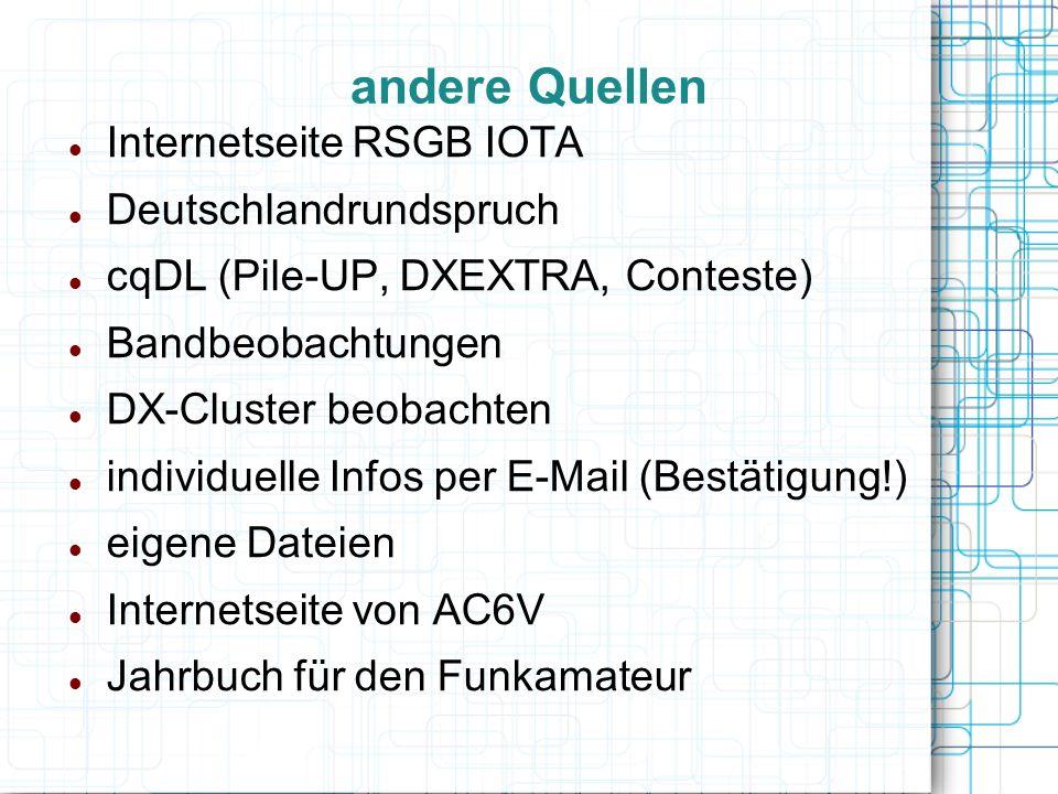 andere Quellen Internetseite RSGB IOTA Deutschlandrundspruch