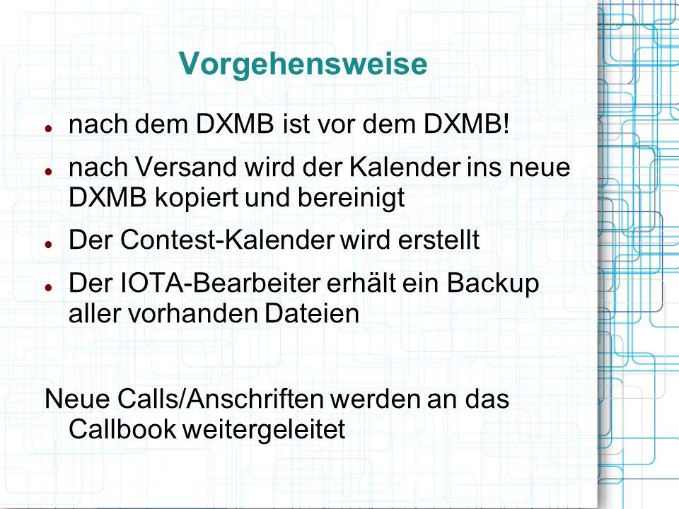 Vorgehensweise nach dem DXMB ist vor dem DXMB!