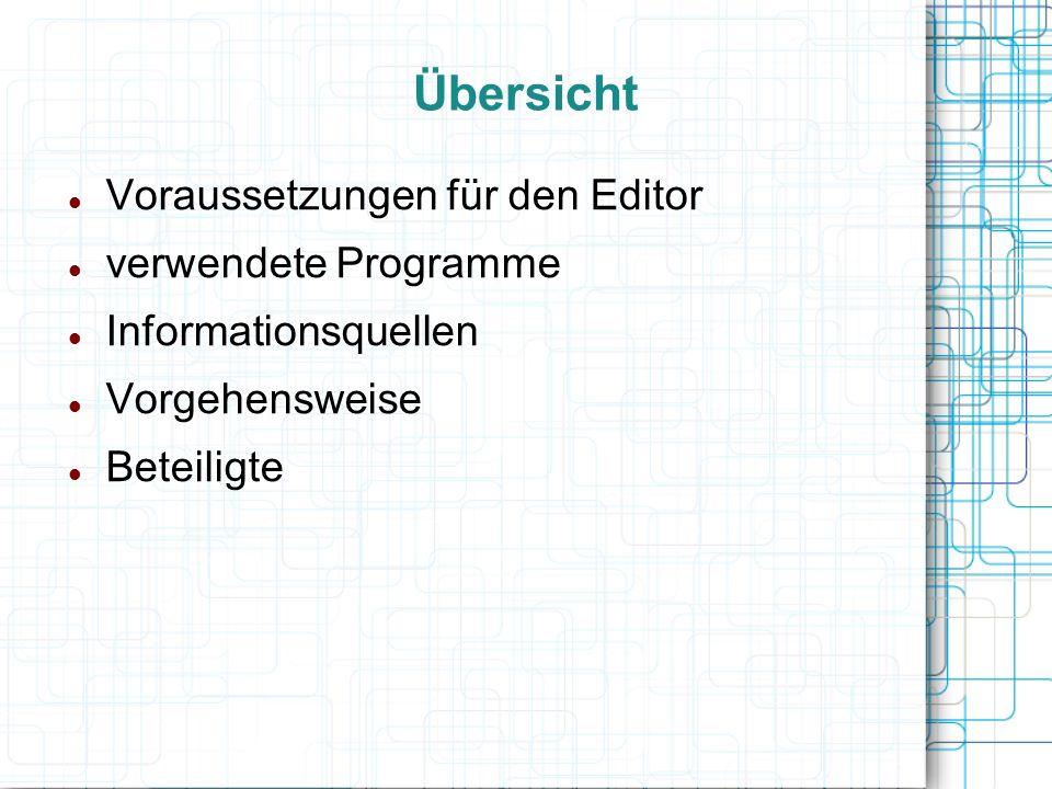 Übersicht Voraussetzungen für den Editor verwendete Programme