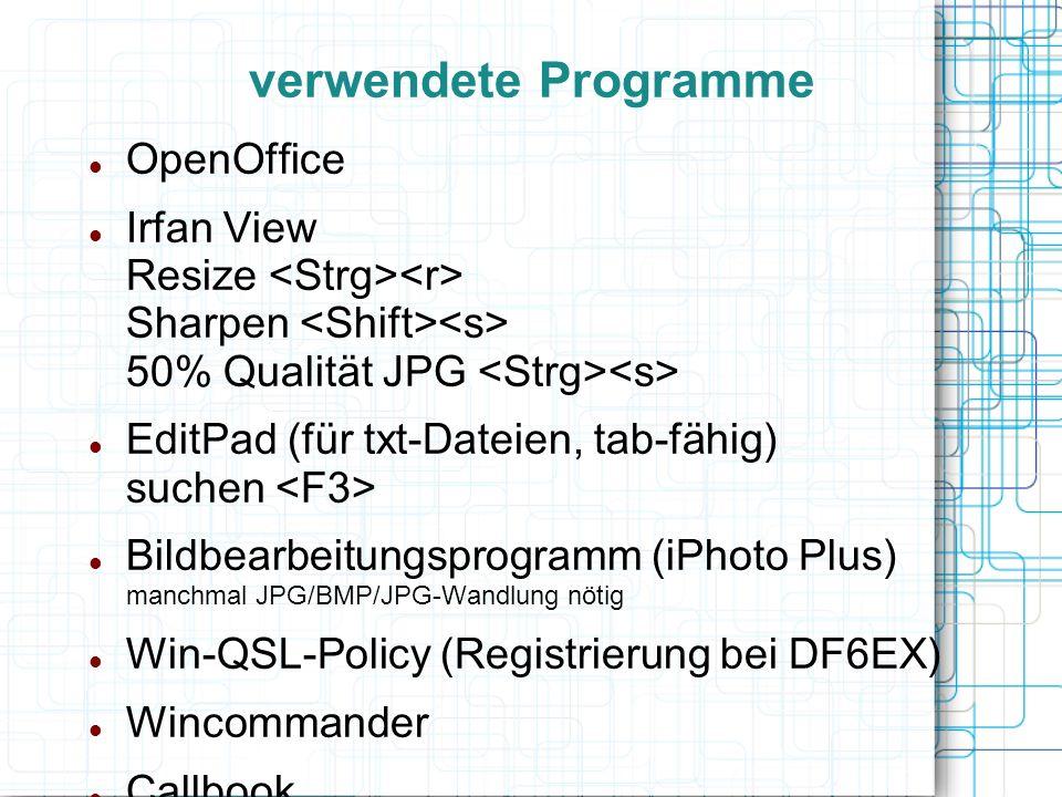 verwendete Programme OpenOffice
