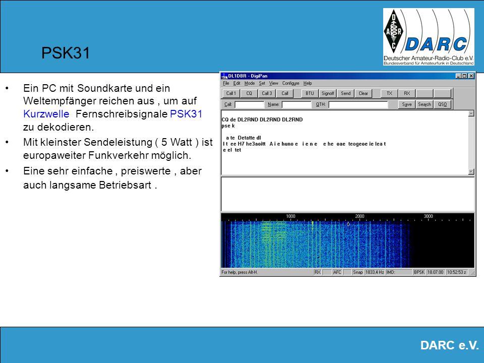 PSK31 Ein PC mit Soundkarte und ein Weltempfänger reichen aus , um auf Kurzwelle Fernschreibsignale PSK31 zu dekodieren.