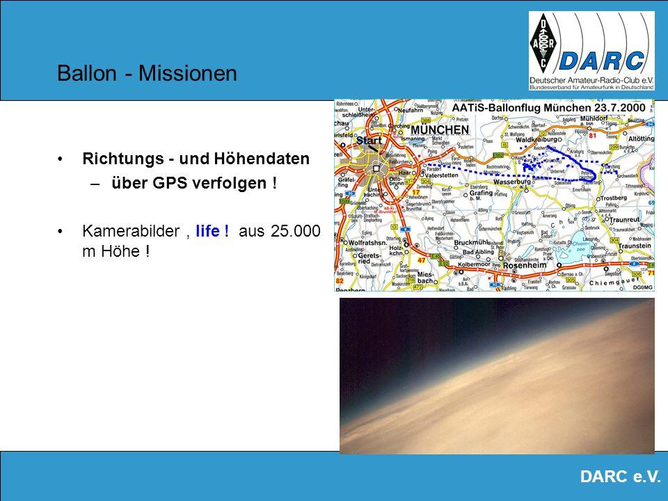 Ballon - Missionen Richtungs - und Höhendaten über GPS verfolgen !