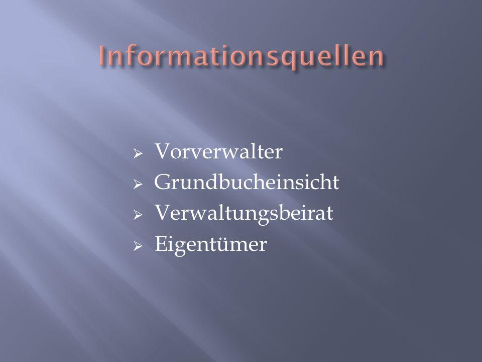 Informationsquellen Vorverwalter Grundbucheinsicht Verwaltungsbeirat