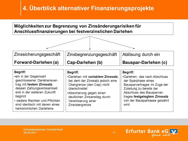 4. Überblick alternativer Finanzierungsprojekte