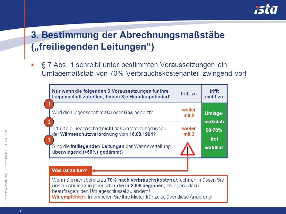 """3. Bestimmung der Abrechnungsmaßstäbe (""""freiliegenden Leitungen )"""