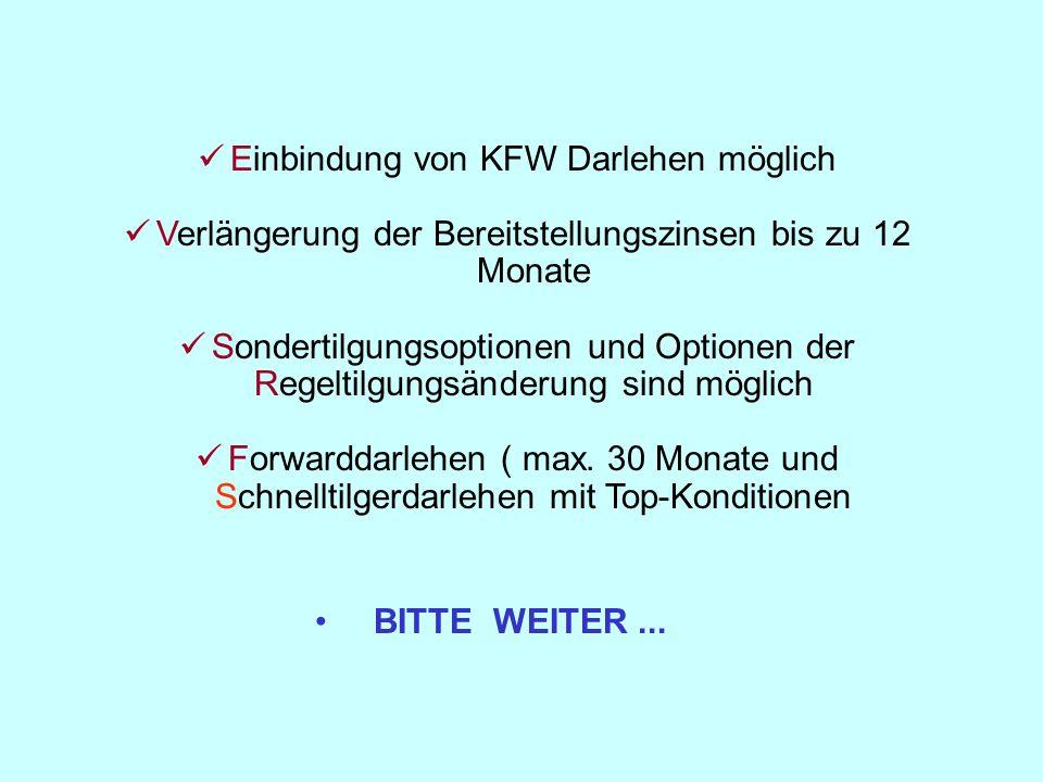 Einbindung von KFW Darlehen möglich