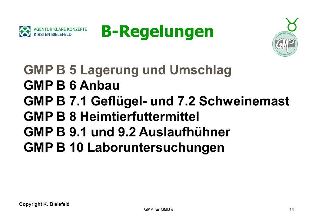 B-Regelungen GMP B 5 Lagerung und Umschlag GMP B 6 Anbau