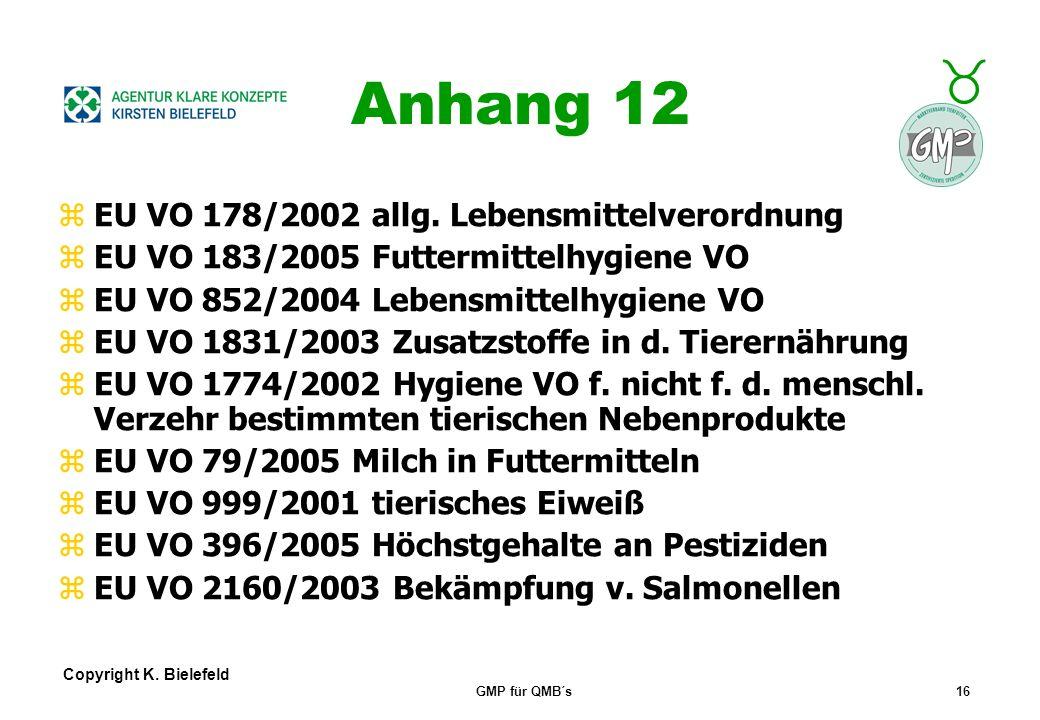 Anhang 12 EU VO 178/2002 allg. Lebensmittelverordnung