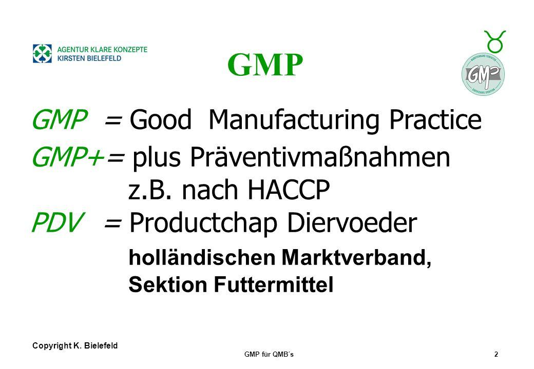 GMP GMP = Good Manufacturing Practice GMP+= plus Präventivmaßnahmen