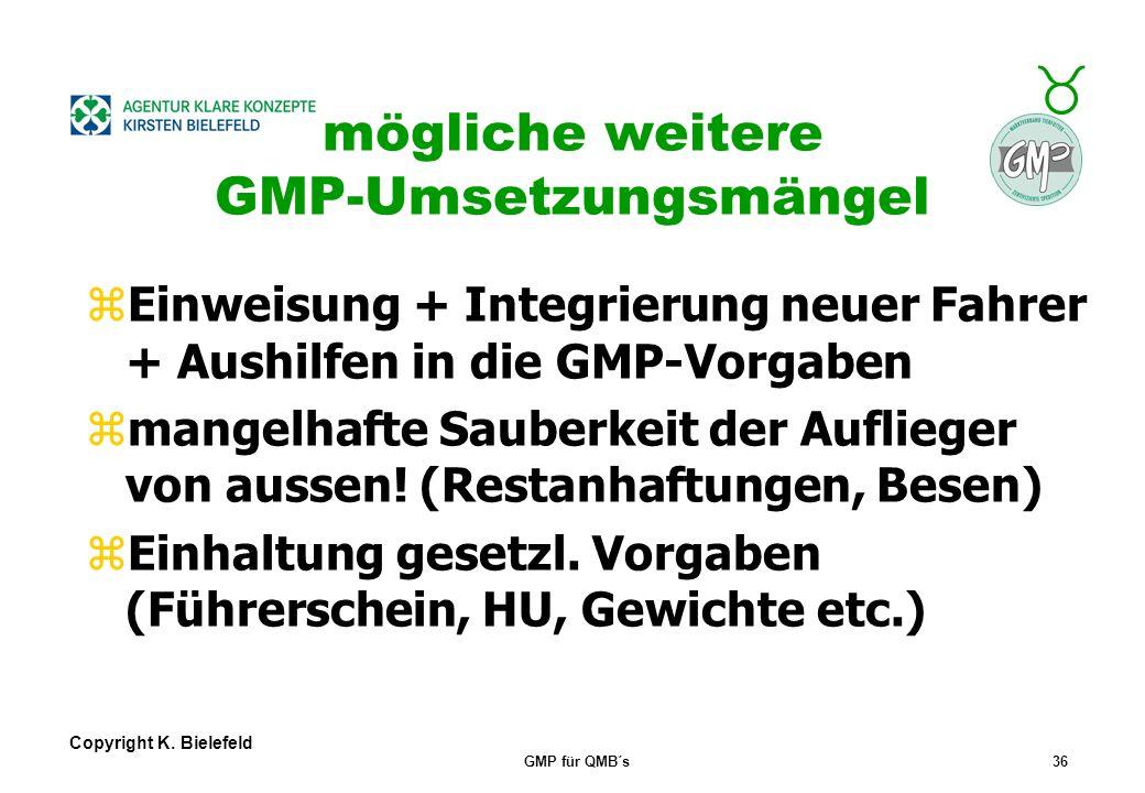 mögliche weitere GMP-Umsetzungsmängel