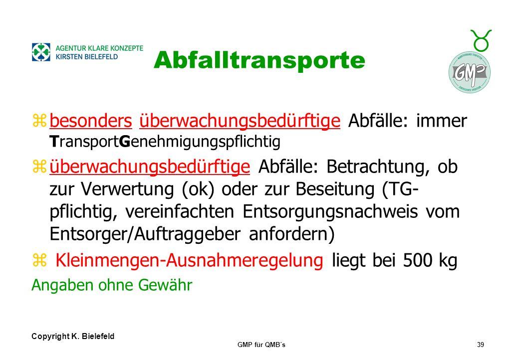 Abfalltransporte besonders überwachungsbedürftige Abfälle: immer TransportGenehmigungspflichtig.