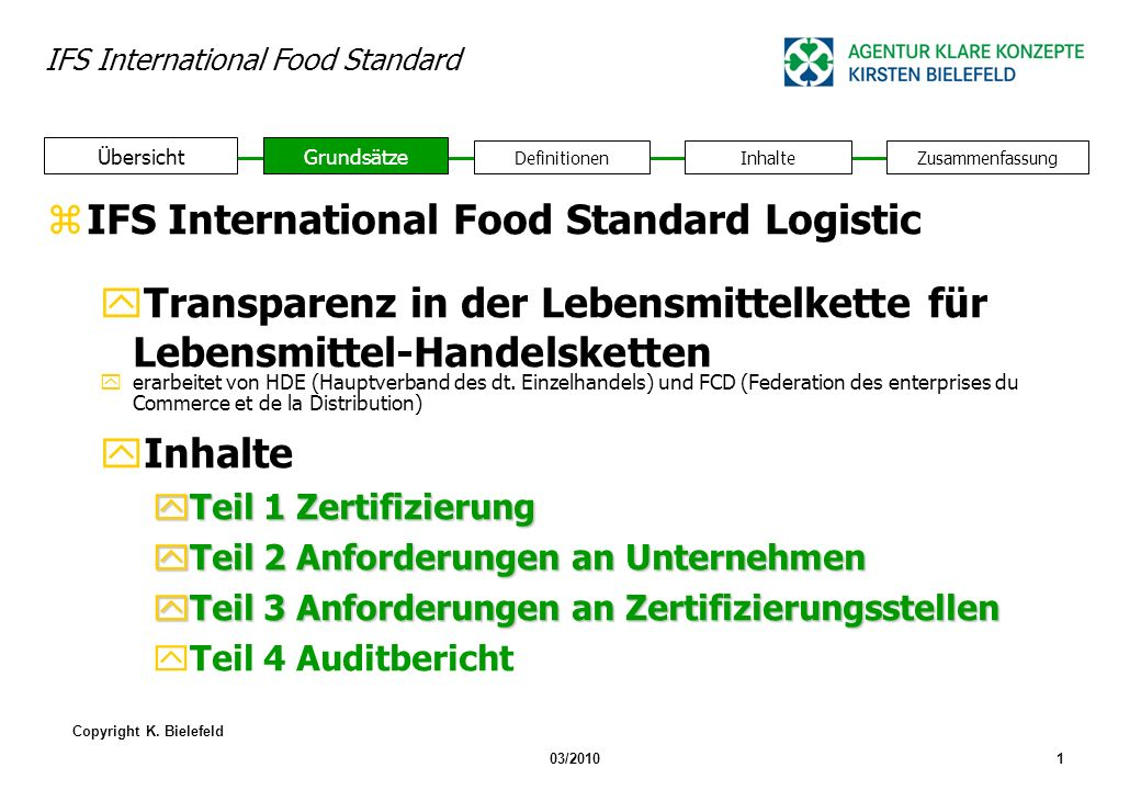 IFS International Food Standard Logistic
