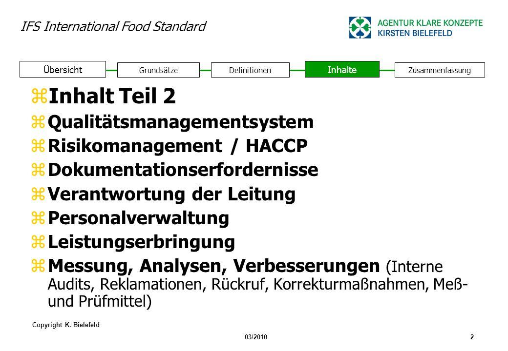 Inhalt Teil 2 Qualitätsmanagementsystem Risikomanagement / HACCP